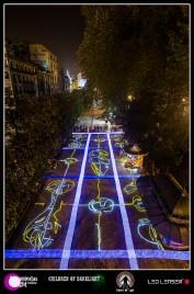 Lightpainting épico realizado en el mosaico del paseo de los Álamos de Oviedo. Trabajo realizado por Children Of Darklight y Riders Of Light