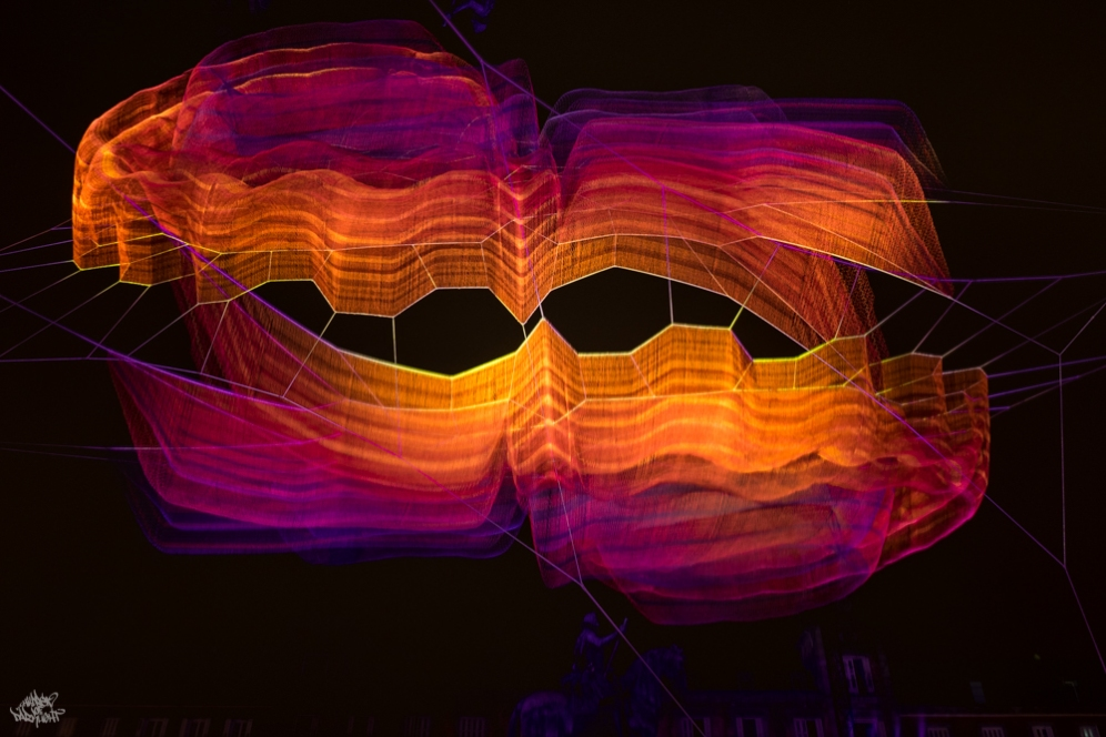 Lightpainting by DKL with Janet Echelman installation