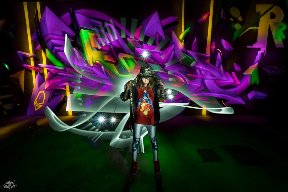 Graffiti artist: @rudiart1; Lightpainters: Frodo DKL & Sfhir; Model: Marta