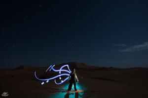 LIGHTPAINTERSUNITED #3 MERZOUGA MEETING 2018. Foto: Frodo DKL (Children of Darklight). Model: Frodo DKL. Lightpainter: Patry Diez