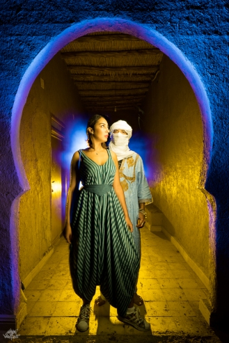 LIGHTPAINTERSUNITED #3 MERZOUGA MEETING 2018. Photo: Frodo DKL (Children of Darklight). Model: Mehdi Arrad & Rani Rajita