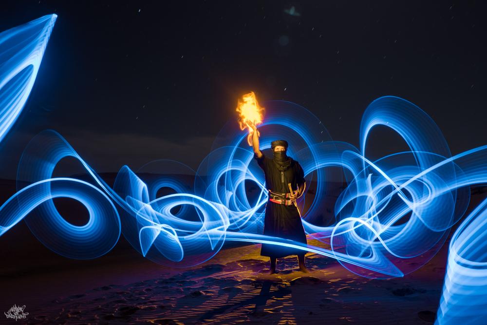 LIGHTPAINTERSUNITED #3 MERZOUGA MEETING 2018. Photo: Frodo DKL (Children of Darklight). Model: Dave Knight