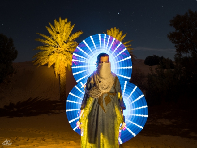 LIGHTPAINTERSUNITED #3 MERZOUGA MEETING 2018. Photo: Frodo DKL (Children of Darklight). Model: Mehdi Arrad
